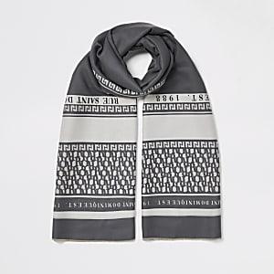 Grijze sjaal met print