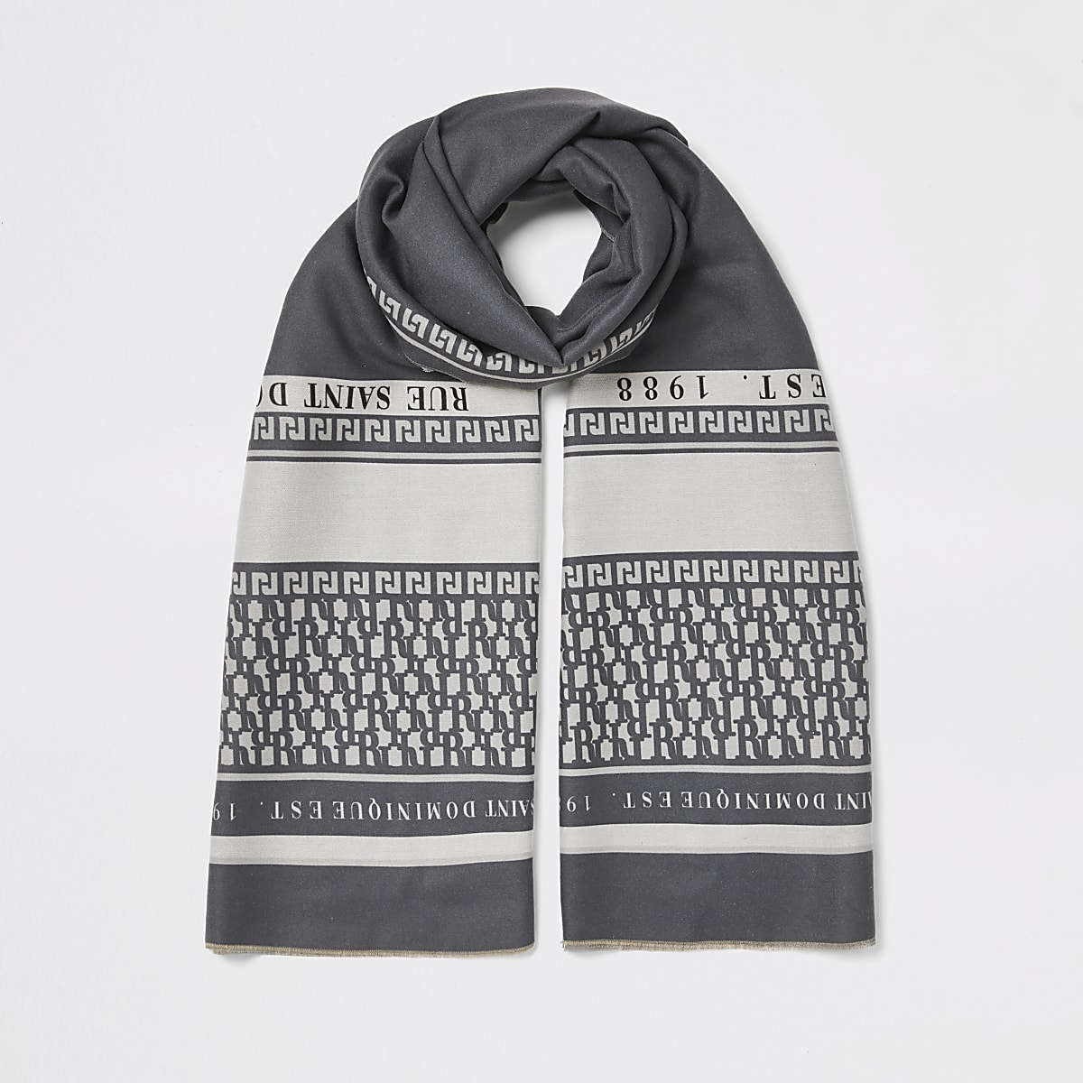Grey printed scarf