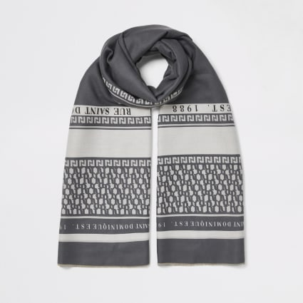 Grey printed scarf