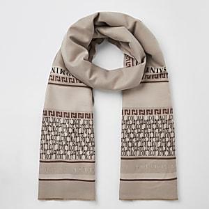 Crèmekleurige sjaal met print