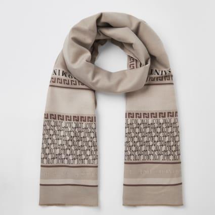 Cream printed scarf
