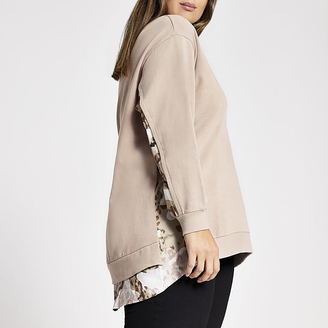 Plus pink block printed sweatshirt