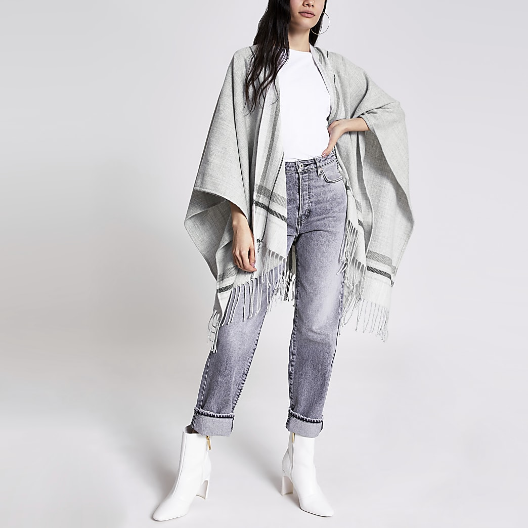 Grey check tassel knitted cape