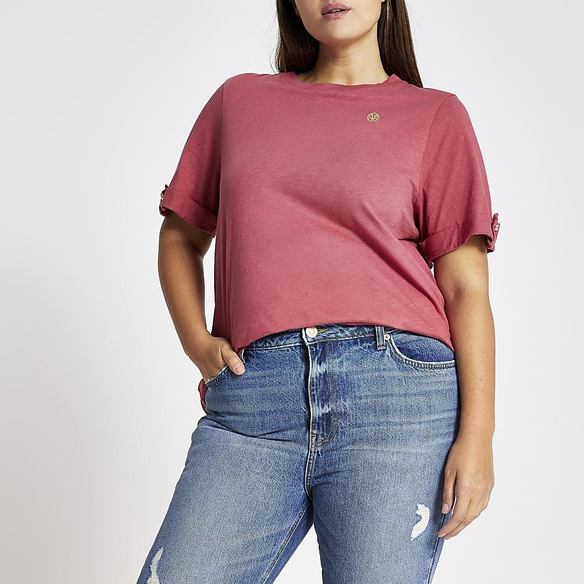 Plus -T-shirt RI ample rose à manches retroussées