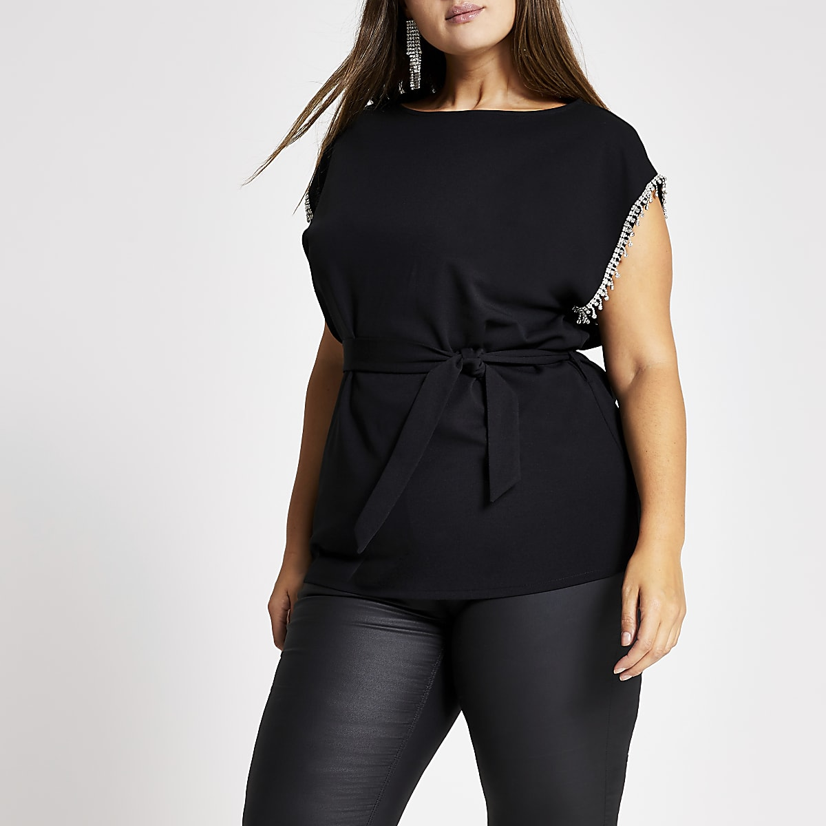 Plus black embellished trim tie belted top