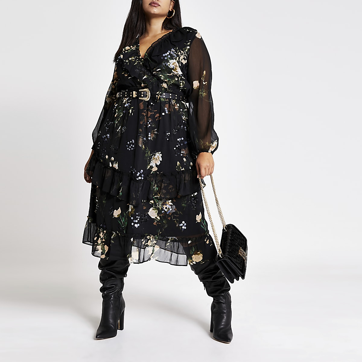 Plus black embellished midi smock dress