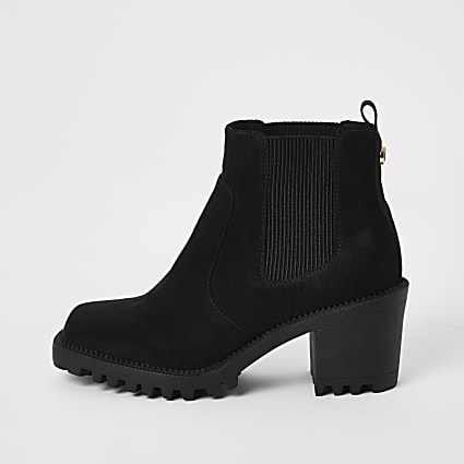 Black suedette square toe heeled ankle boots