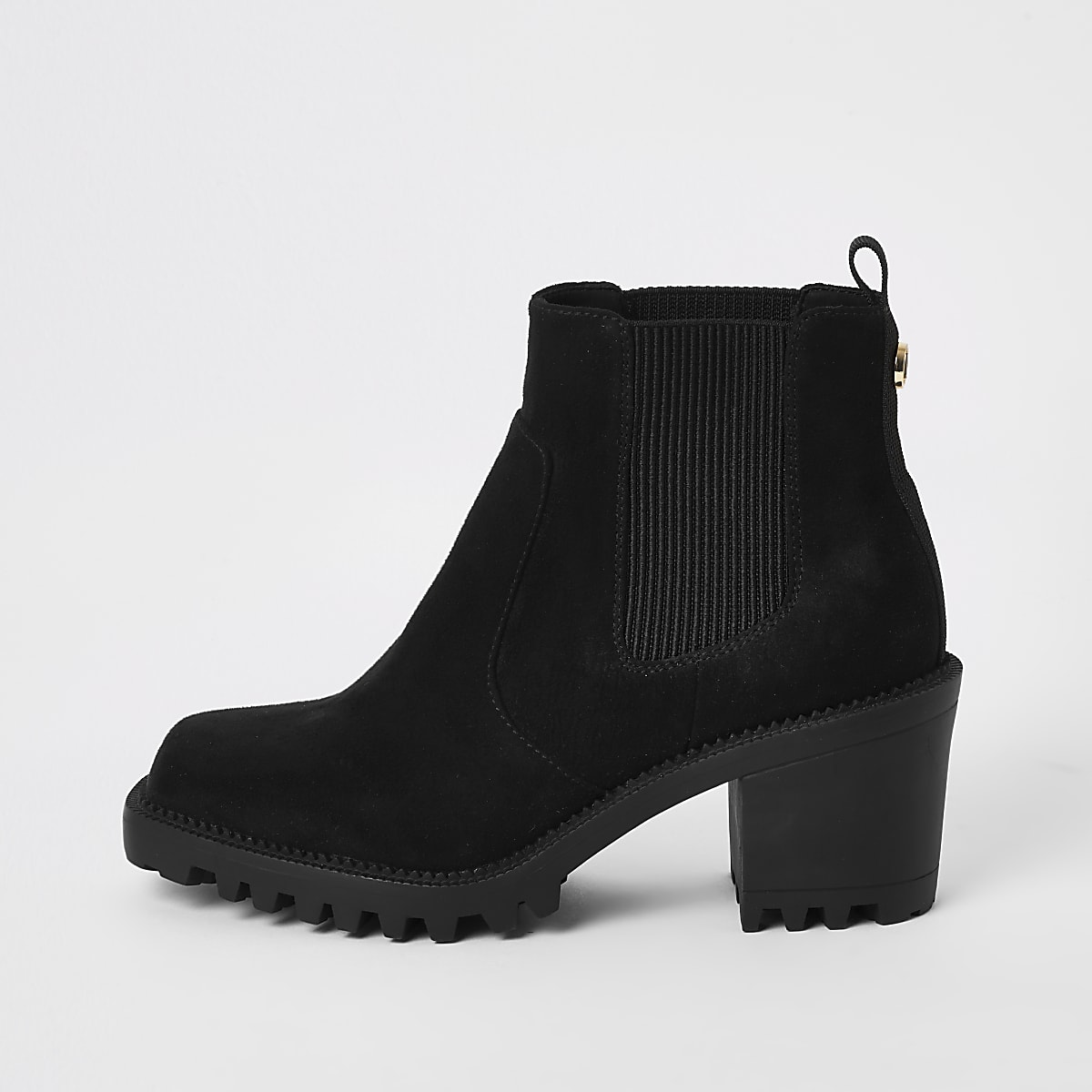 suedette heeled ankle boots Black toe square 2beYEDIWH9