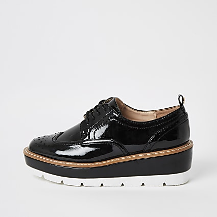 Black patent lace-up platform brogues