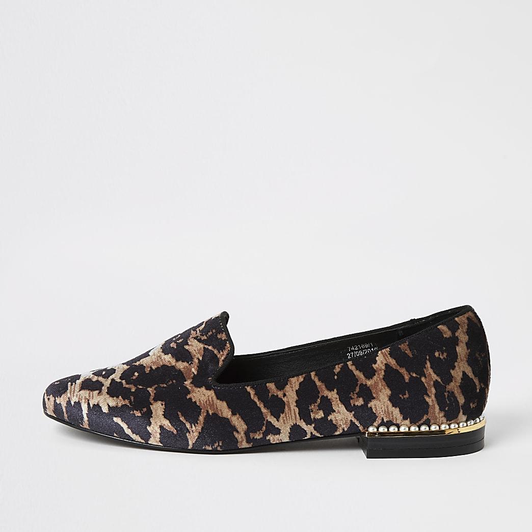 Brown leopard print pearl heel slipper shoes
