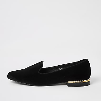 Black velvet pearl embellished slipper shoes