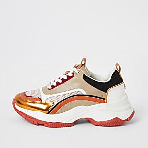 Oranje stevige sneakers met kleurvlakken