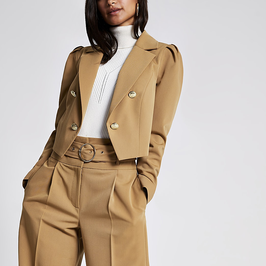 Petite light brown cropped blazer