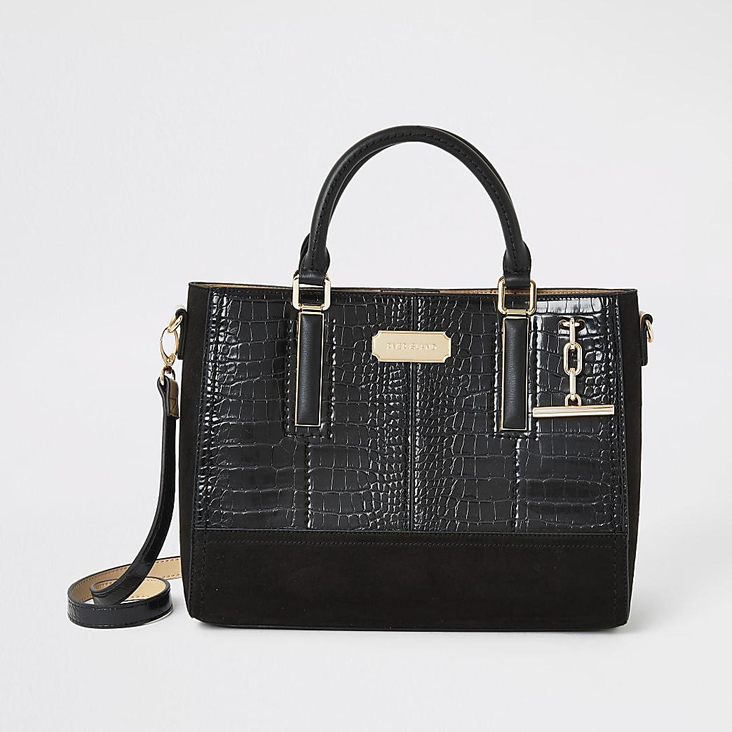Zwarte handtas met T-balk met reliëf en krokodillenprint