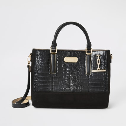 Black croc embossed T bar tote bag