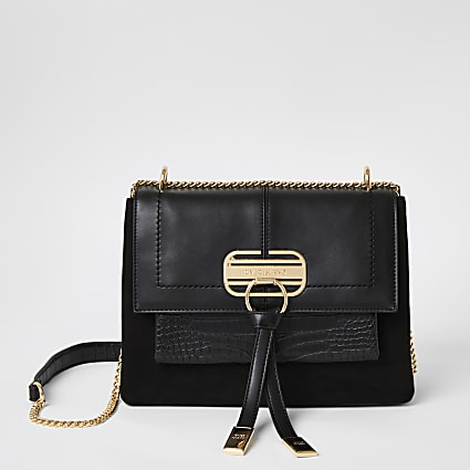 Black embossed lock front underarm bag