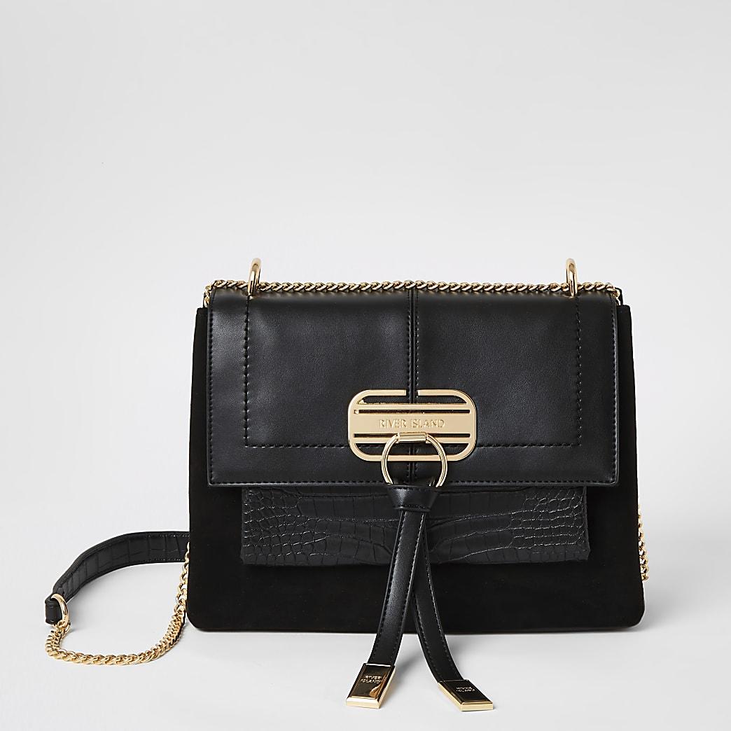 Zwarte schoudertas met reliëf en slotje voor