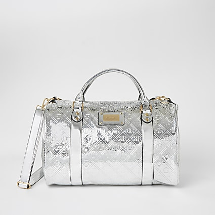 Silver RI embossed weekend duffle bag