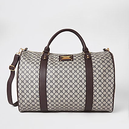 Brown RI monogram weekend travel duffle bag