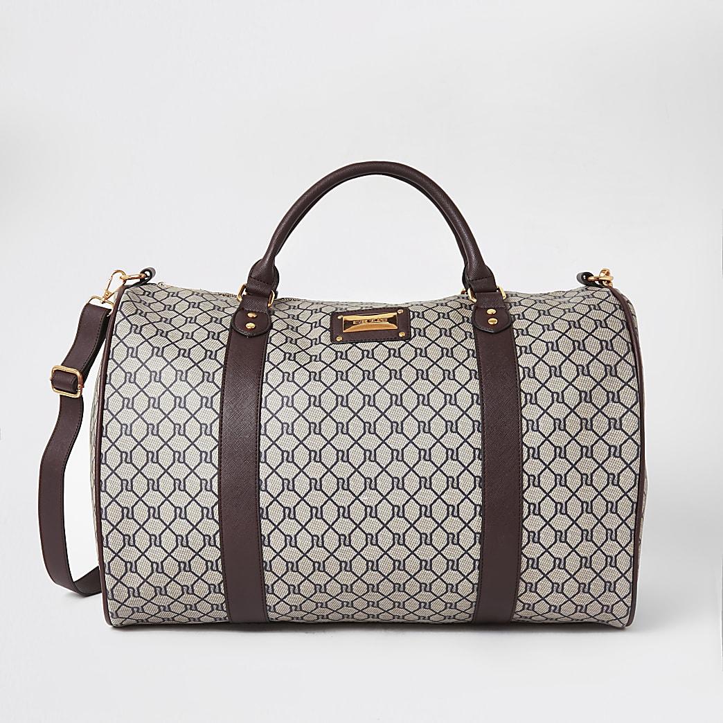 Brown RI monogram weekend travel duffle bag
