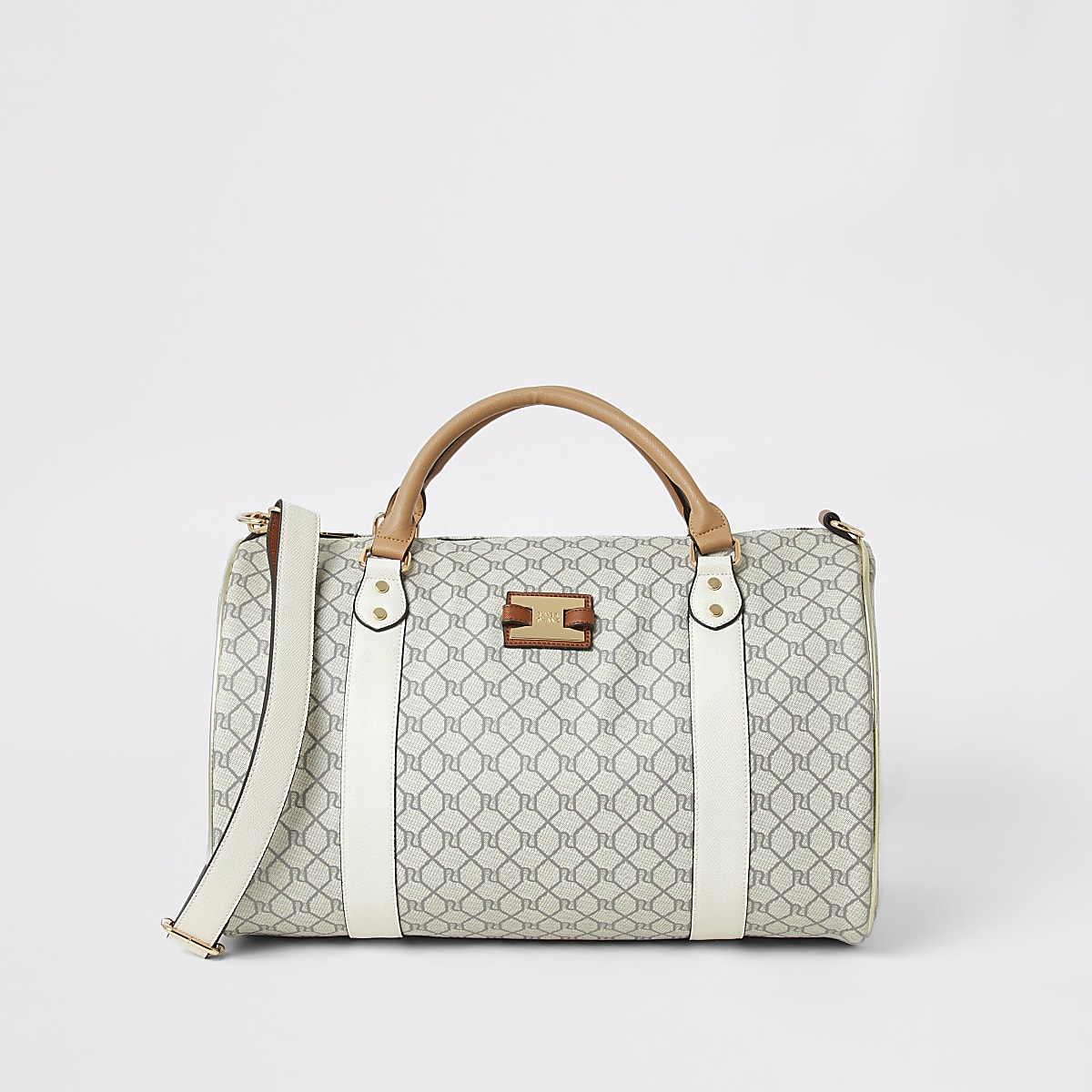 Grey RI monogram weekend travel duffle bag