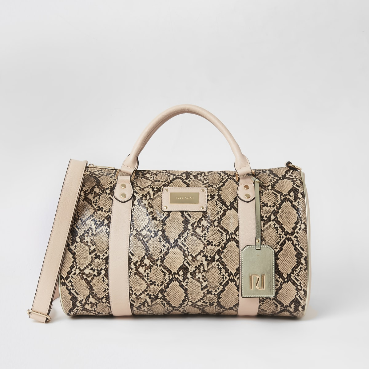Beige snake print weekend duffle bag