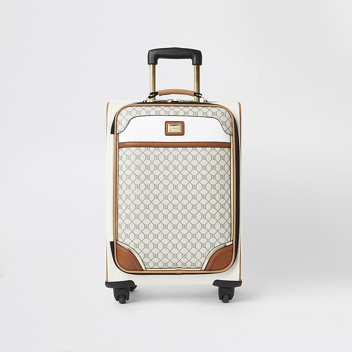 Grijze koffer met RI-monogram en rits voor