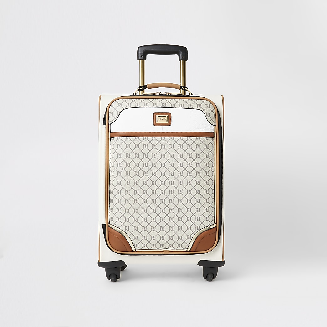 Grey RI monogram zip front suitcase