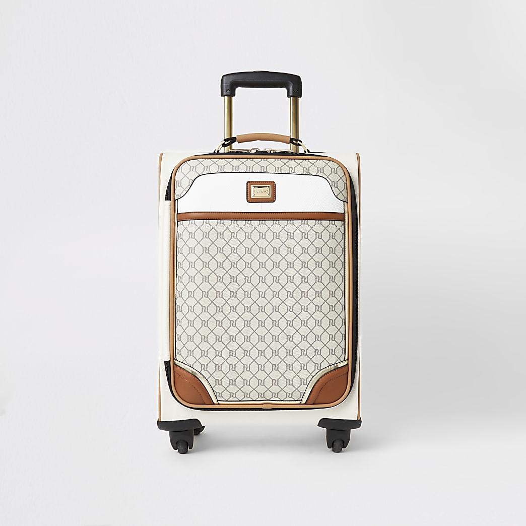 Valise grise avec logo RI zippée sur le devant