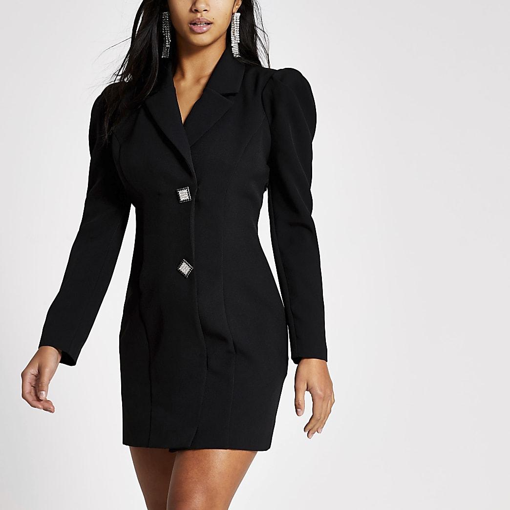 Petite black diamante button tux dress