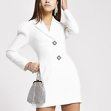Petite white diamante button tux dress