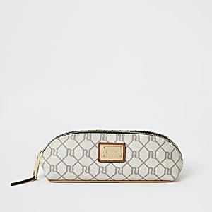 Graue Make-up-Tasche mit RI-Monogramm-Muster