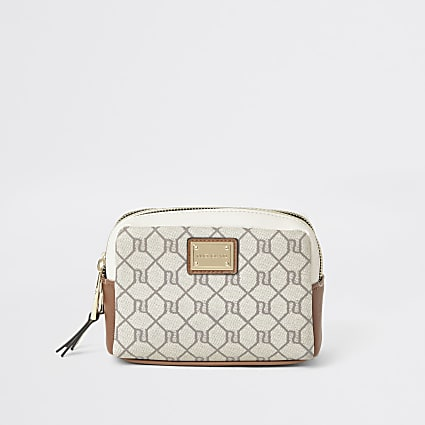 Grey RI monogram make up bag