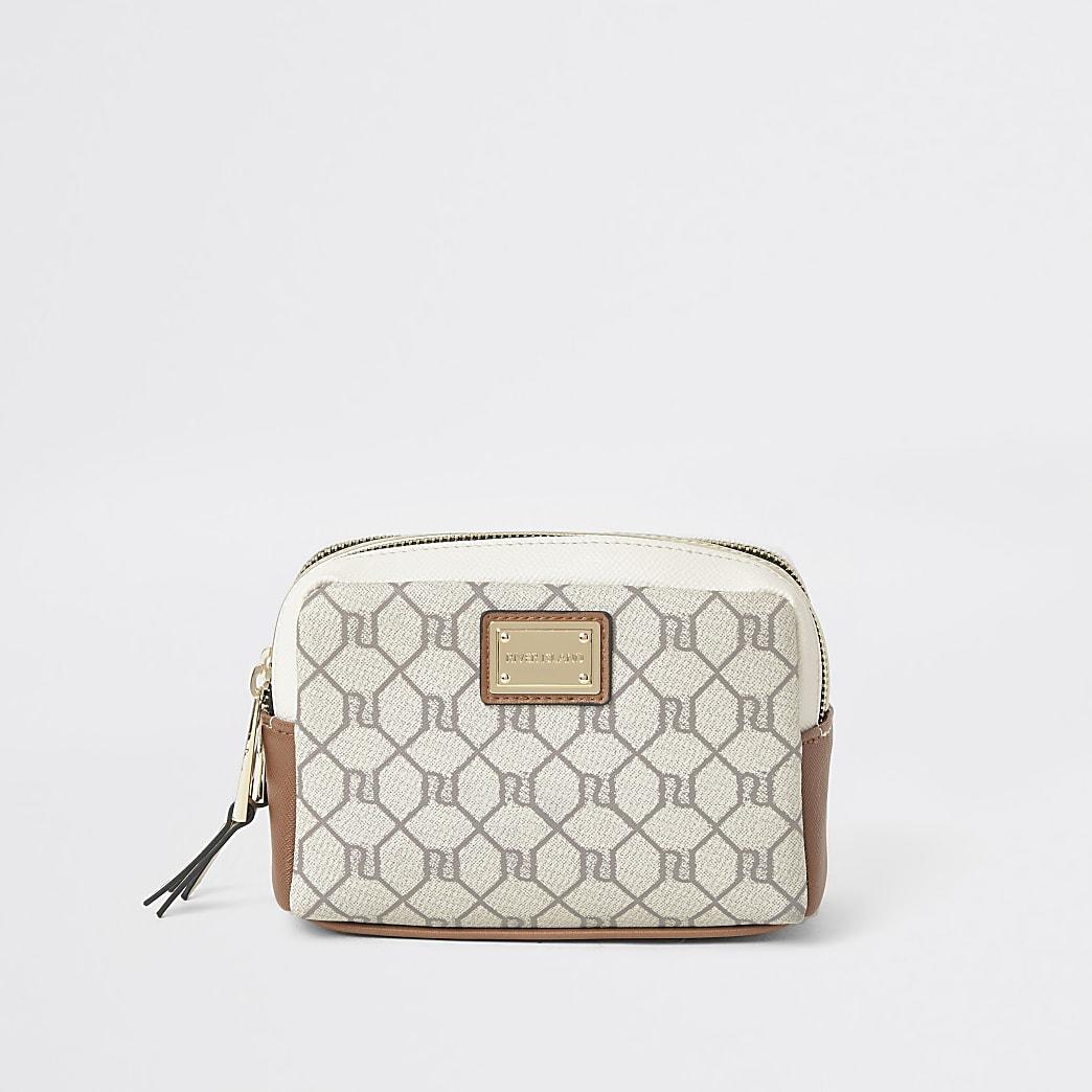Grey RI monogram make up bag