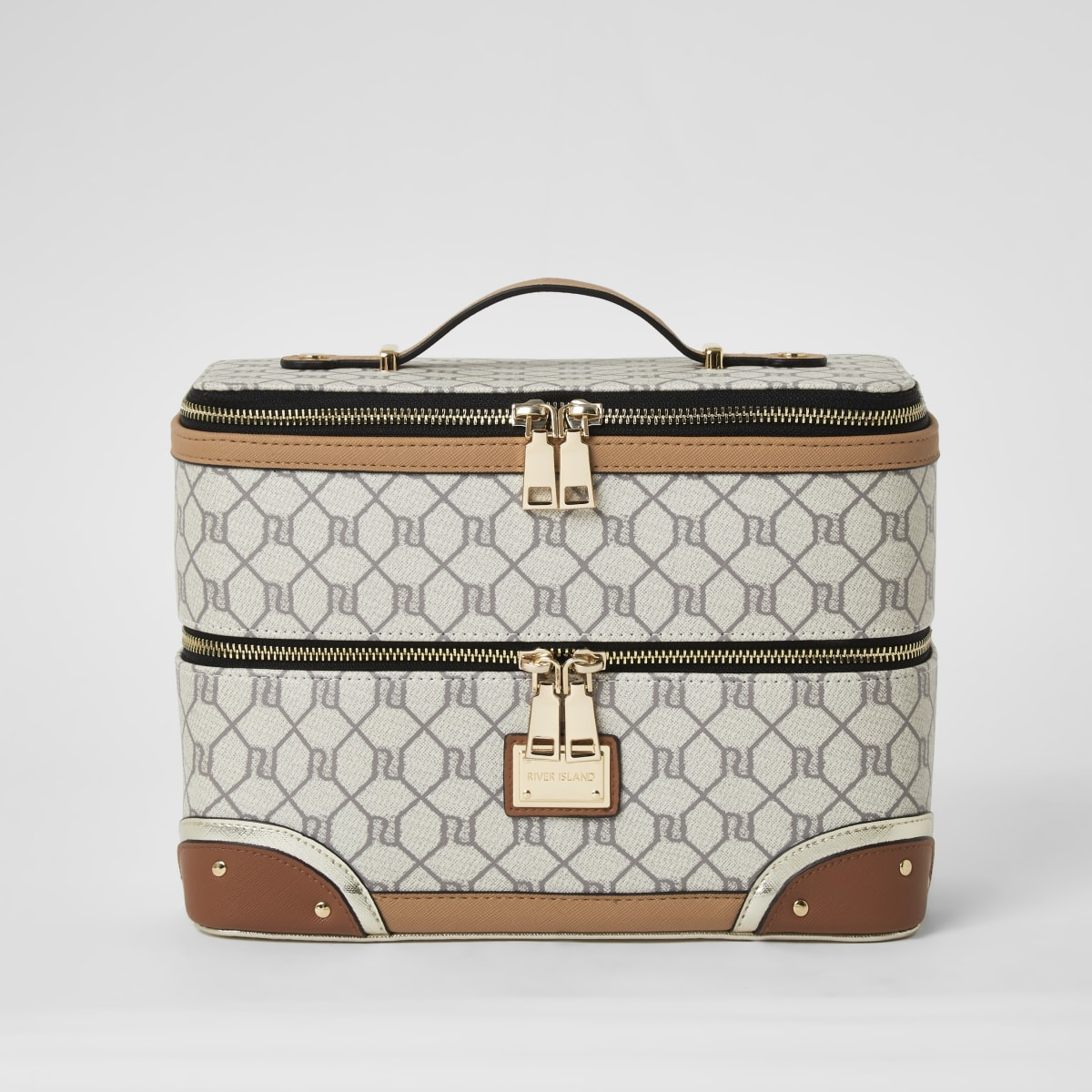 Grey RI monogram vanity case