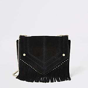 Schwarze Lederhandtasche mit Fransen und Nieten