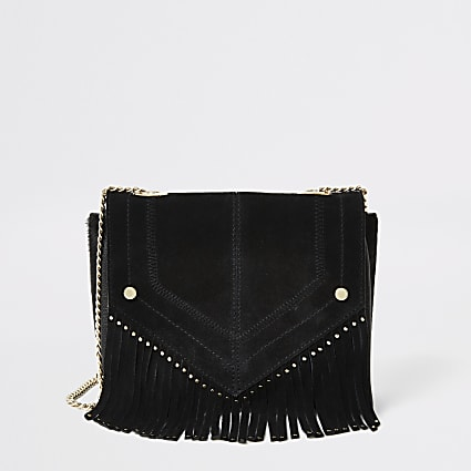 Black leather fringe studded cross body bag