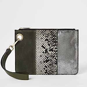 Leder-Clutch in Khaki mit Colour-Block