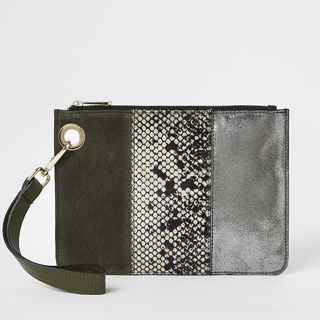 Khaki leather colour blocked clutch bag