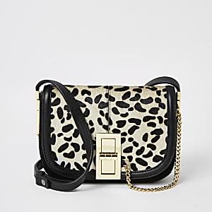 Sac bandoulière en cuir noir imprimé léopard