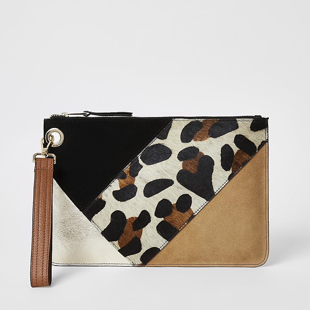 Beige leather colour blocked clutch bag
