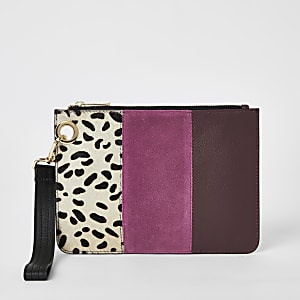 Pink leather colour blocked clutch bag