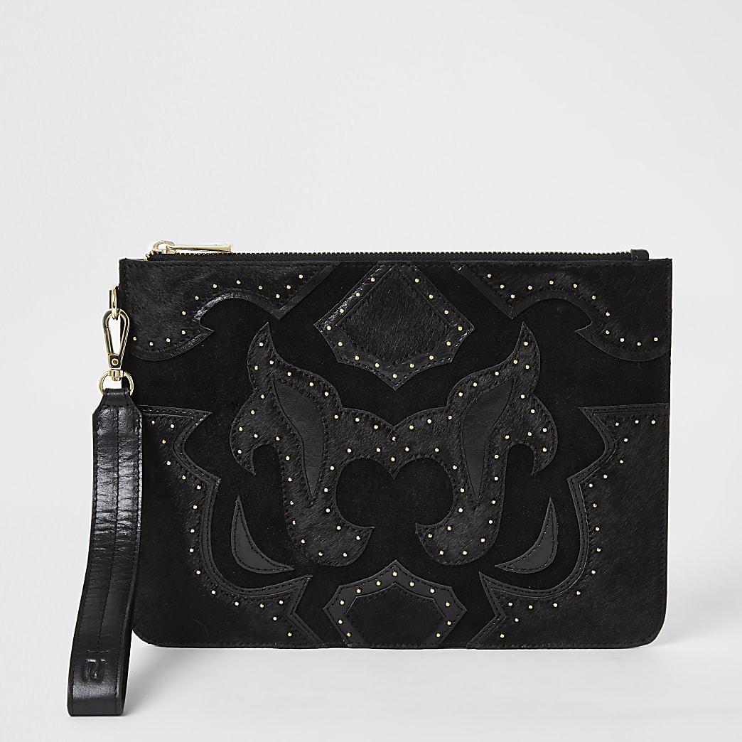 Black leather studded western clutch bag