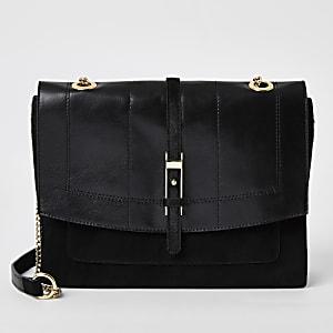 Black leather buckle front underarm bag