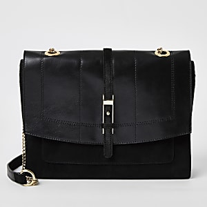 Black leather buckle front underarm bag