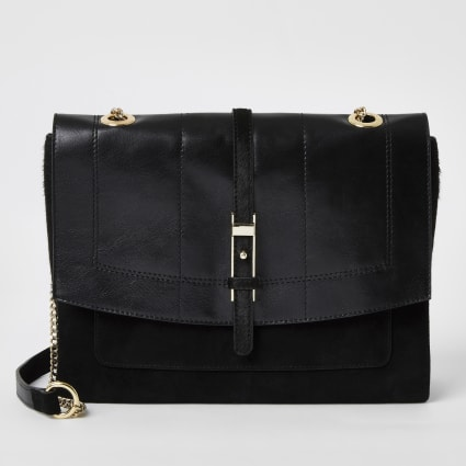 Black leather buckle front cross body bag