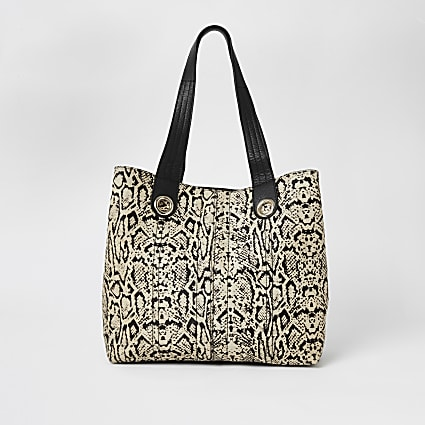 Beige leather snake print slouch bag