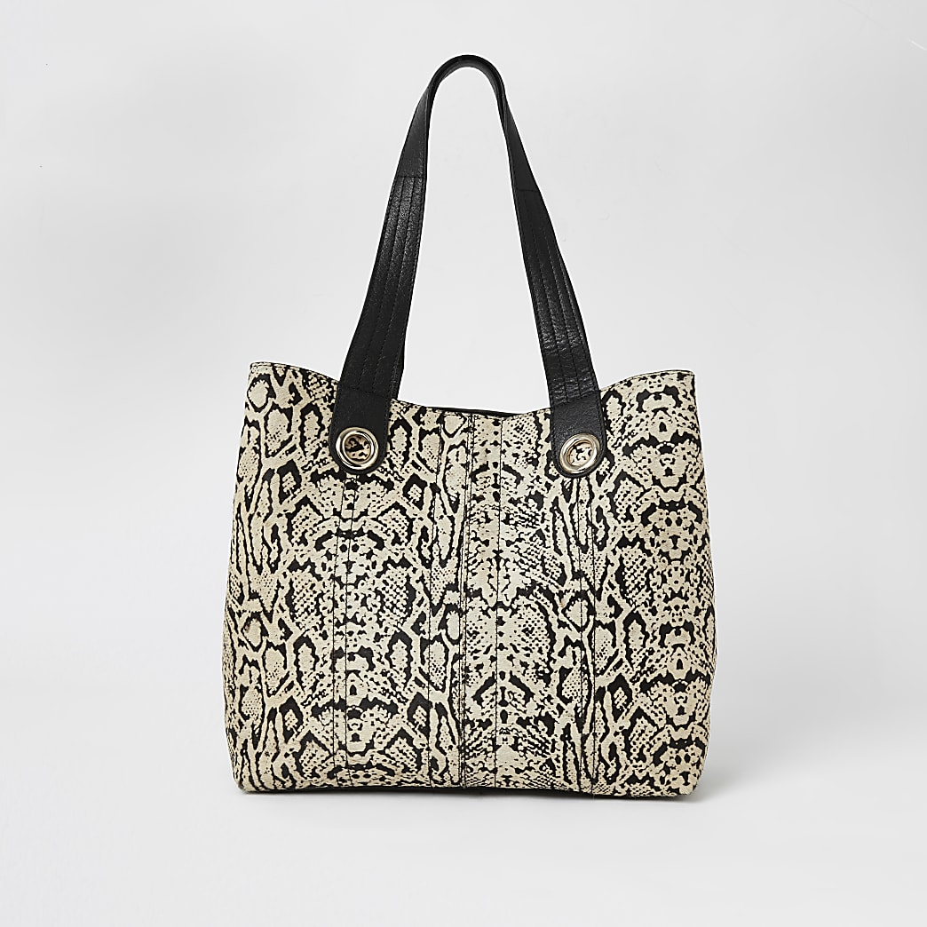 Beige leather snake print slouch bag