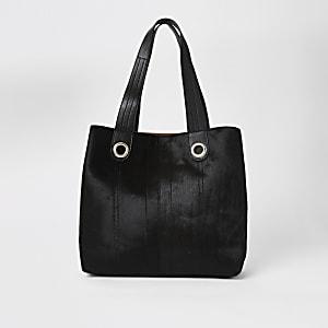 Cabas large en cuir noir