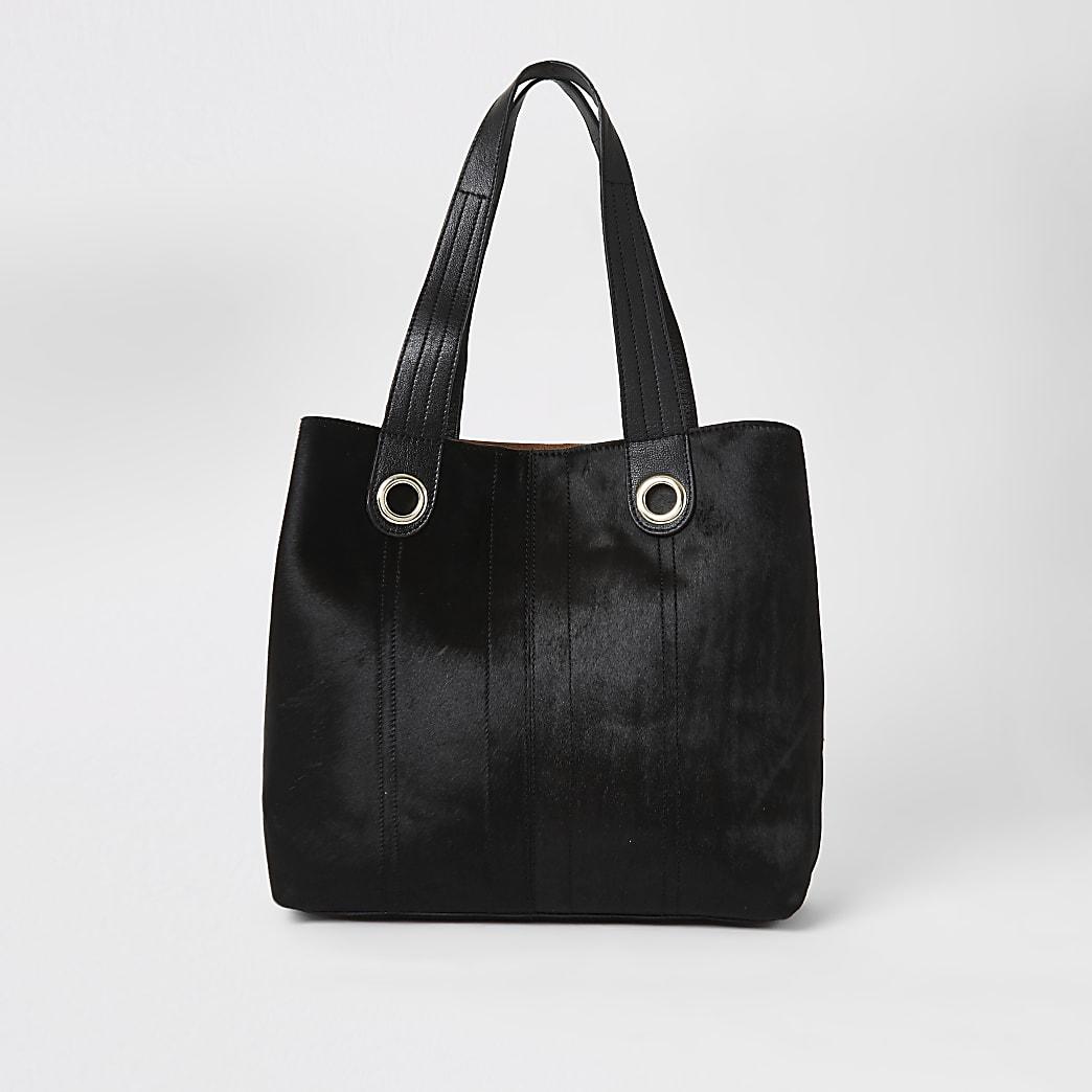 Black leather slouch shopper bag